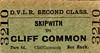 DERWENT VALLEY LIGHT RAILWAY TICKET - SKIPWITH to CLIFF COMMON - Second Class Single, fare 6d.