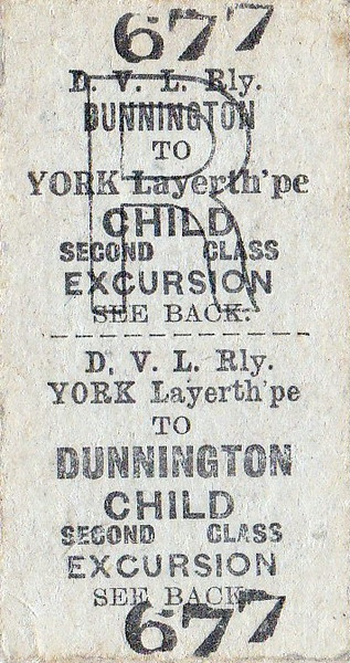 DERWENT VALLEY LIGHT RAILWAY TICKET - DUNNINGTON to YORK LAYERTHORPE - Second Class Child Day Excursion Return.