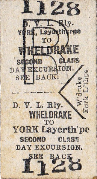 DERWENT VALLEY LIGHT RAILWAY TICKET - YORK LAYERTHORPE to WHELDRAKE - Second Class Day Excursion Return.