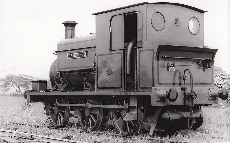 NORTH SUNDERLAND RAILWAY - BAMBURGH - built 1898 by Manning Wardle, Works No.1394 - 1948 scrapped. <br /> The North Sunderland Railway ran from Chathill on the ECML to the fishing village of Seahouses, just over 4 miles away. The line opened in 1898 and January 1939 was taken over by the LNER to settle large debts to the latter. Trains ceased to run on October 27th, 1951. The company only ever owned 2 engines, this one and a small diesel. Other motive power was hired in from the LNER as required.