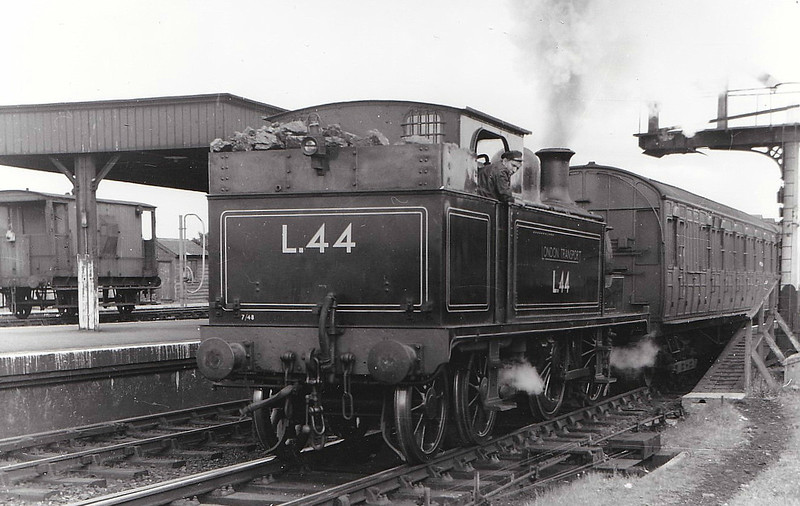 LONDON TRANSPORT - L44 - Metropolitan Class E 0-4-4T - built 1896 by Neasden Works as MR No.79 - renumbered No.1 after original loco was destroyed in an accident - 1935 to LT No.L44 - 1961 worked last LT steam hauled passenger train - 1965 withdrawn - preserved - seen here at Chalfont & Latimer, 08/51.