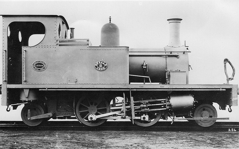 BIDEFORD, WESTWARD HO! & APPLEDORE RAILWAY - No.2 KINGSLEY - 2-4-2T - built 1900 by Hunslet Engine Co., Works No.714 - seen here before fitting of skirts and cowcatcher. This railway ran in northwest Devon. It is unusual in that although it was built as a standard gauge line, it was not joined to the rest of the British railway network, despite the London and South Western Railway having a station at Bideford East-the-Water, just on the other side of the river Torridge from the main town. The line was seven miles long with 11 stations and halts and opened in stages between 1901 and 1908, but closed in 1917, having been requisitioned by the War Office. The railway had three 2-4-2T locomotives, built by the Hunslet Engine Co. of Leeds, named GRENVILLE, KINGSLEY and TORRIDGE, fully skirted with cow-catchers for running on the street sections of the line.