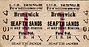 LIVERPOOL OVERHEAD RAILWAY TICKET - BRUNSWICK - First Class Single to Seaforth Sands - fare 9 1/2d.
