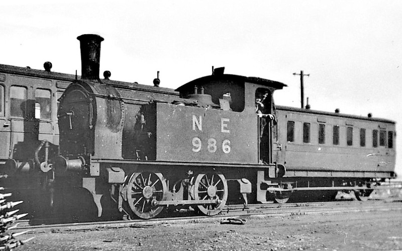 NORTH SUNDERLAND RAILWAY - 986 - Worsdell NER Class H LNER Class Y7 0-4-0T - built 10/23 by Darlington Works as LNER No.986 - 1946 to LNER No.8089, 1948 to BR No.68089 - 01/52 withdrawn from 52A Gateshead- seen here at Seahouses - the loco was hired to the NSR between 1945 and closure. <br /> The North Sunderland Railway ran from Chathill on the ECML to the fishing village of Seahouses, just over 4 miles away. The line opened in 1898 and January 1939 was taken over by the LNER to settle large debts to the latter. Trains ceased to run on October 27th, 1951. The company only ever owned 2 engines, this one and a small diesel. Other motive power was hired in from the LNER as required.