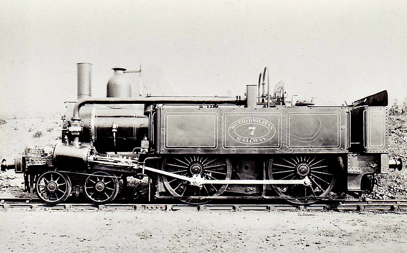 METROPOLITAN RAILWAY - 7 -  A Class 4-4-0T - built 1864 by Beyer Peacock Ltd. Works No.417 - 1927 sold to Mersey Railway for departmental duties - 66 built in total - 1905/6 Metropolitan Railway electrified so most withdrawn between 1907 and 1914 - 13 retained for rural and departmental use - 1936 all steam and freight workings taken over by the LNER.