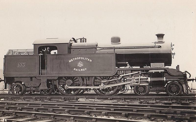 METROPOLITAN RAILWAY - 103 - Jones Metropolitan Railway LNER Class H2 4-4-4T - built 10/20 by Kerr Stuart & Co. as Met No.103 - 03/38 to LNER No.6415 - LNER No.7510 not applied - 03/46 withdrawn from Colwick MPD.