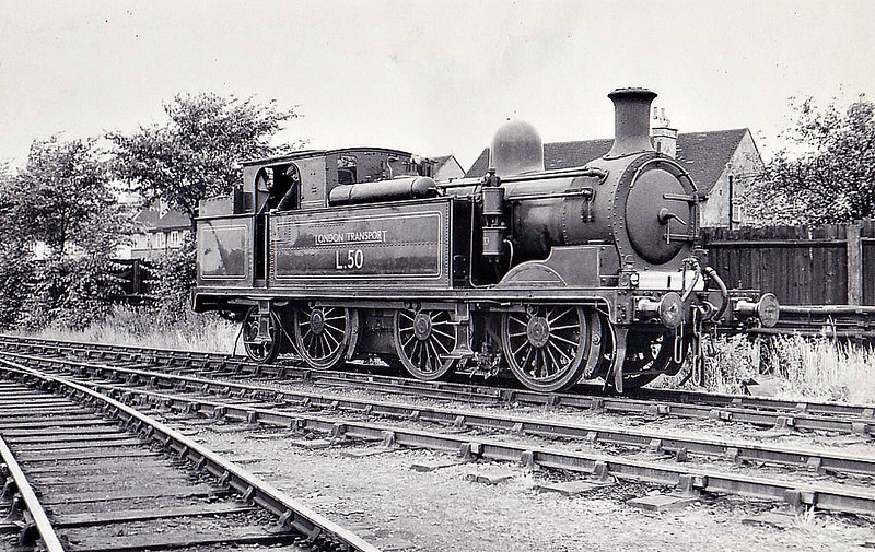 LONDON TRANSPORT - L50- Metropolitan Railway Class F 0-6-2T - built 1901 by Yorkshire Engine Co. as MR No.91 - 1935 to LT as No.L50 - 1962 withdrawn - seen here at Neasden , 07/57.