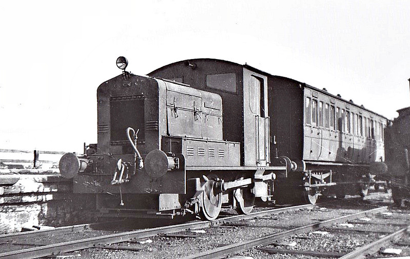 NORTH SUNDERLAND RAILWAY - LADY ARMSTRONG - 0-4-0DE built by Armstrong Whitworth - 1933 purchased by NSR - 1951 withdrawn on closure - seen here at Seahouses. <br /> The North Sunderland Railway ran from Chathill on the ECML to the fishing village of Seahouses, just over 4 miles away. The line opened in 1898 and January 1939 was taken over by the LNER to settle large debts to the latter. Trains ceased to run on October 27th, 1951. The company only ever owned 2 engines, this one and a small diesel. Other motive power was hired in from the LNER as required.