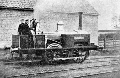 EDENHAM & LITTLE BYTHAM RAILWAY - HAVILAH - 0-4-0T - built 1856 by R&W Hawthorn Ltd, Works No.958 - 1871 sold back to makers - this is the only known photograph of the E&LBR in action, taken outside the engine shed at Edenham, looking south, on behalf of the makers. Her livery was dark blue with white lining.