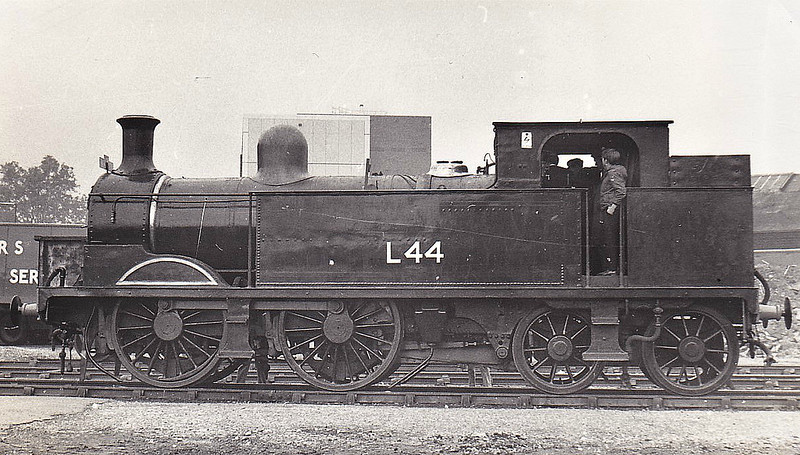 LONDON TRANSPORT - L44 - Metropolitan Class E 0-4-4T - built 1896 by Neasden Works as MR No.79 - renumbered No.1 after original loco was destroyed in an accident - 1935 to LT No.L44 - 1961 worked last LT steam hauled passenger train - 1965 withdrawn - preserved - seen here at Bedford, 10/68.