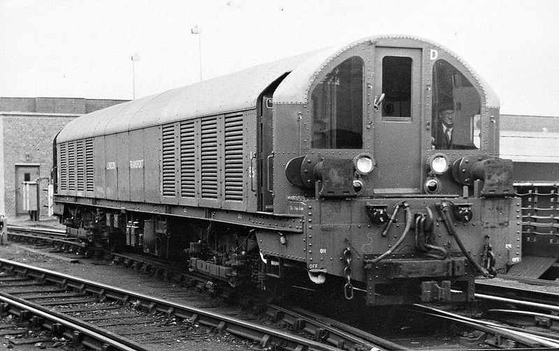 LONDON TRANSPORT - L56 - Bo-Bo Battery-Electric - built in 1951 by Pckering & Co., Wishaw - withdrawn in 1980's - seen here at Lillie Bridge Depot in 1951.