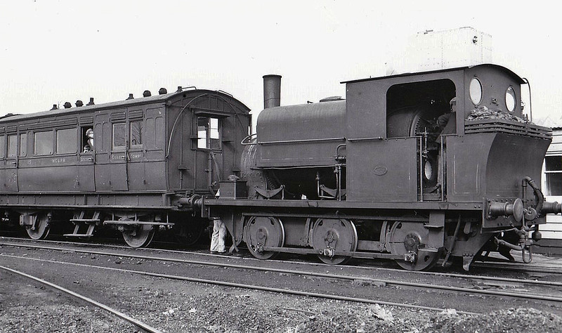 WESTON, CLEVEDON & PORTISHEAD LIGHT RAILWAY - No.5 - 0-6-0T built 1919 by Manning Wardle & Co., new to the WC&PLR - 1940 withdrawn, thought to have been scrapped - seen here at Clevedon in 1935. The Weston, Clevedon & Portishead Light Railway was another of Colonel Stephens' companies. The first section from Weston to Clevedon opened in December 1897 and the extension to Portishead in August 1907. It was already in receivership by 1909 and was taken over by Stephens in 1911. The last train ran in May 1940.