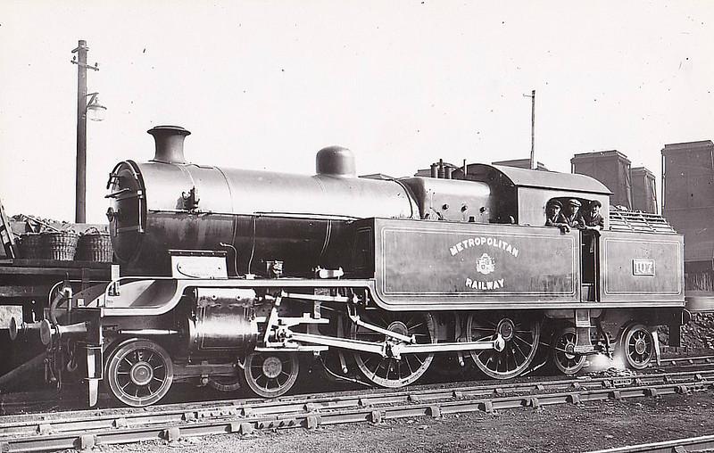 METROPOLITAN RAILWAY - 107 - Jones Metropolitan Railway LNER Class H2 4-4-4T - built 03/21 by Kerr Stuart & Co. as Met No.107 - 06/38 to LNER No.6419 - LNER No.7514 not applied - 09/43 withdrawn from Colwick MPD - seen here at Neasden MPD.