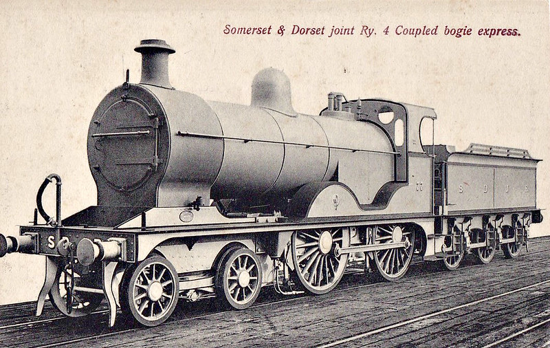 SOMERSET & DORSET JOINT RAILWAY - 77 - Johnson SDJR/LMS 2P 4-4-0 - built 1908 by Derby Works - 1930 to LMS No.320 - 1931 withdrawn. S&DJR locomotives were absorbed into LMS stock in 1930.