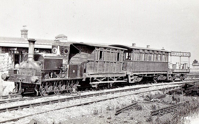 METROPOLITAN RAILWAY - HUDDERSFIELD - 0-6-0ST - built 1876 by Manning Wardle & Co. as PRESTWICH - 1894 acquired by Brill Tramway - 1896 withdrawn - seen here at Quainton Road. <br /> The Brill Tramway was a 6 miles rail line in the Aylesbury Vale. It was privately built in 1871 by the 3rd Duke of Buckingham as a horse tram line to help transport goods between his lands around Wotton House and the national rail network. Lobbying from the nearby village of Brill led to its extension to Brill and conversion to passenger use in early 1872. Two locomotives were bought but the line had been built for horses and thus trains travelled at an average speed of 4 miles per hour. The line was completely taken over by the Metropolitan Railway in 1899.