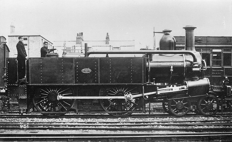 METROPOLITAN RAILWAY - 18 - Adams Class A 4-4-0T - built 1864 by Beyer Peacock Ltd., Works No.429, as HERCULES - to No.18 shortly after delivery - 66 built in total - 1905/6 Metropolitan Railway electrified so most withdrawn between 1907 and 1914 - 13 retained for rural and departmental use - 1936 all steam and freight workings taken over by the LNER, all but one withdrawn.