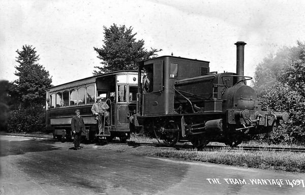WANTAGE TRAMWAY - No.7 - 0-4-0ST - built by Manning Wardle & Co. The Wantage Tramway Company was a two-mile tramway that carried passengers and freight between the Oxfordshire town of Wantage and Wantage Road Station on the Great Western Main Line. Formed in 1873 to link Wantage Road station with its terminus at Mill Street, Wantage the line was cheaply built parallel to what was then the Besselsleigh Turnpike, and now the A338. The tramway closed to passengers in 1925 and to goods traffic in 1945.