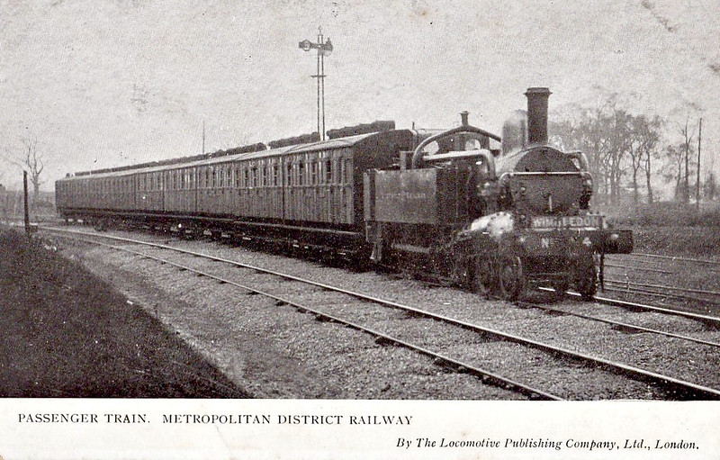 METROPOLITAN RAILWAY -  4 - A Class 4-4-0T - built 1864 by Beyer Peacock Ltd., Works No.414 - 66 built in total - 1905/6 Metropolitan Railway electrified so most withdrawn between 1907 and 1914 - 13 retained for rural and departmental use - 1936 all steam and freight workings taken over by the LNER.