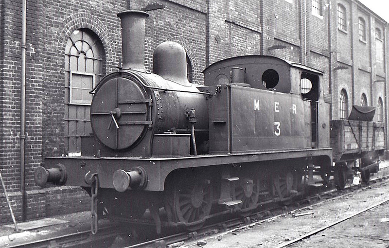 MERSEY RAILWAY - M.E.R. No.3 - Holden GER Class J66 0-6-0T - built 06/1887 by Stratford Works as GER No.297 - 1924 to LNER No.7297 - 1939 sold to Mersey Railway for departmental duties - 1948 to BR - seen here at Stratford Works, 04/50.