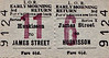 LIVERPOOL OVERHEAD RAILWAY TICKET - JAMES STREET - Third Class Early Morning Return to Huskisson - fare 6 1/2d. There were 17 stations on the LOR, numbered 1 to 17, north to south. The large red number refers to the destination station.