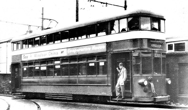 SWANSEA AND MUMBLES TRAMWAY - No.4 - One of the post -1929 double-deck tramcars. These were the largest trams ever built in Britain and could seat 106 passengers.  The Swansea and Mumbles Railway was the world's first passenger railway service. Originally built under an Act of Parliament of 1804 to move limestone from the quarries of Mumbles to Swansea, it carried the world's first fare-paying railway passengers on March 25th, 1807. It later moved from horse power to steam locomotion in 1896, and finally converted to electric trams in 1929, before closing in January 1960, in favour of motor buses. The line was 5.5 miles long and converted to standard gauge in 1855. At the time of the railway's closure, it had been the world's longest serving railway.