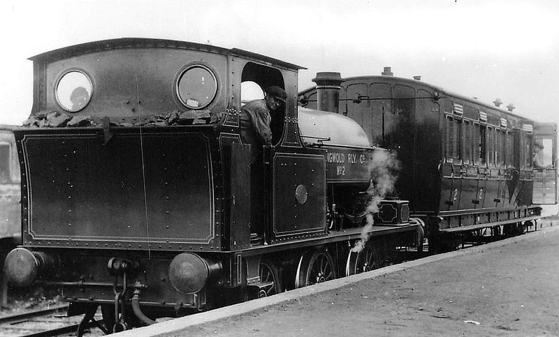 "EASINGWOLD RAILWAY - No.2 - 0-6-0ST built 05/03 by Hudswell Clarke & Co., Works No.608 - 1948 withdrawn - seen here at Easingwold Station in 1933.<br /> The Easingwold Railway was a privately owned standard-gauge railway in the Vale of York that ran from Alne Station on the East Coast Main Line to the village of Easingwold. At 2.5 miles long, the Easingwold Railway prided itself as ""England's Shortest Standard Gauge"". The line opened on July 25th, 1891, and closed on December 27th, 1957. After the scrapping of No.2, various small tank engines were hire in locally from BR."