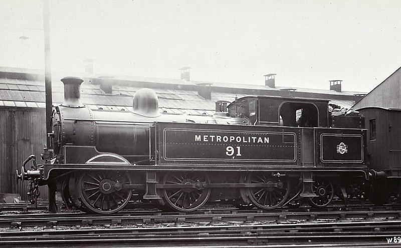 METROPOLITAN RAILWAY - 91 - Metropolitan Class F 0-6-2T - built 1901 by Yorkshire Engine Co.  - 1935 to LT as No.L50 - 1962 withdrawn.