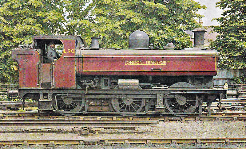 LONDON TRANSPORT - L90 - Collett GWR Class 5700 0-6-0PT - built 12/30 by North British Loco Co. as GWR No.7760 - 12/61 withdrawn from 81F Oxford - sold to London Transport, 1971 withdrawn - preserved Birmingham Railway Museum - seen here shunting at Watford in 1971.