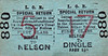 LIVERPOOL OVERHEAD RAILWAY TICKET - NELSON - First Class Special Day Return to Dingle - fare 6 1/2d. There were 17 stations on the LOR, numbered 1 to 17, north to south. The large red number refers to the destination station.