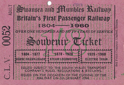 COMMEMORATIVE TICKET (1) - Issued on January 5th, 1960, to mark the closure of the line after 156 years of service - price 1s 8d.