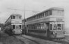 SWANSEA AND MUMBLES TRAMWAY - Nos. 3 & 7 -  11 trams built 1929 by Brush Electrical Co., Loughborough - at 106 passengers per double-deck car, they were biggest ever to see service in Britain. <br /> The Swansea and Mumbles Railway was the world's first passenger railway service. Originally built under an Act of Parliament of 1804 to move limestone from the quarries of Mumbles to Swansea, it carried the world's first fare-paying railway passengers on March 25th, 1807. It later moved from horse power to steam locomotion in 1896, and finally converted to electric trams in 1929, before closing in January 1960, in favour of motor buses. The line was 5.5 miles long and converted to standard gauge in 1855. At the time of the railway's closure, it had been the world's longest serving railway.