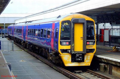 FGW 3-car DMU 158 951 is seen at Portsmouth Harbour, forming 1F14, the 10.22 service to Cardiff Central. 11th August 2008.