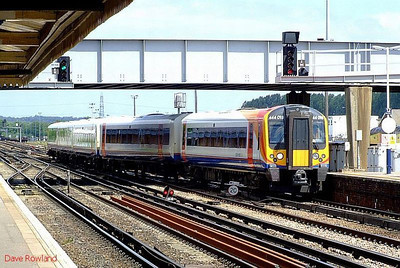 SWT 444 018 runs into platform 2 at Eastleigh with 2B27, the 10.39 Waterloo-Poole stopping service. 28th June 2008.