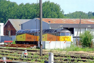"""Colas Rail 47727 """"Rebecca"""" + 47749 """"Demelza"""" repose in Eastleigh East Yard, having worked in the previous day with 6Z47, the 10.05 West Ealing Plasser sidings. 28th June 2008."""