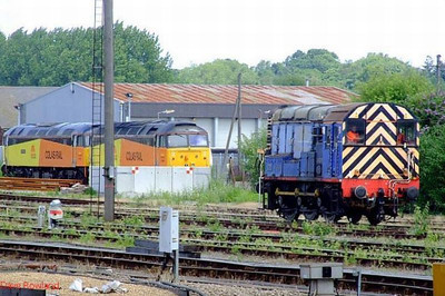 "Colas Rail 47727 ""Rebecca"", 47749 ""Demelza"" + Mainline 09019 are seen at Eastleigh East Yard on 28th June 2008."