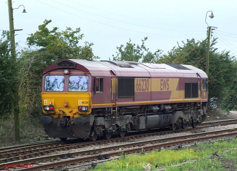 A close-up view of EWS 66230 as it runs round at Barnetby. 20th August 2009.