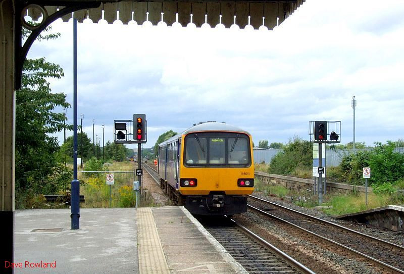 Northern 144 011 is seen departing from Worksop with the 12.27 Lincoln-Adwick service. 20th August 2009.