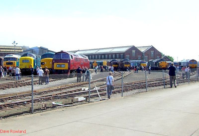 View of some of the diesels on show at Eastleigh Works Centenary open day, 25th May 2009.