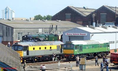 "View from the top of the old Works entrance steps, with 35028 ""Clan Line"", 33002 ""Sea King"" & D7612 visible. Eastleigh Works Centenary open day, 25th May 2009."