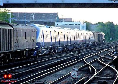 Class 395 'Javelin' 6-car EMU 395 018 + EWS 66096 & barrier vehicles Eastleigh. 21st May 2009.