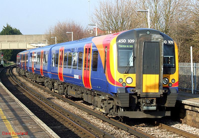 Another view of SWT 450 109 as it departs from Hilsea with 2P39, the 13.45 Waterloo-Portsmouth Harbour (via Guildford) service. 19th March 2009.