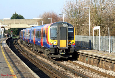 SWT 450 014 is seen again as it departs Hilsea with 2E41, the 14.44 Southampton Central-Portsmouth & Southsea stopper. 19th March 2009.