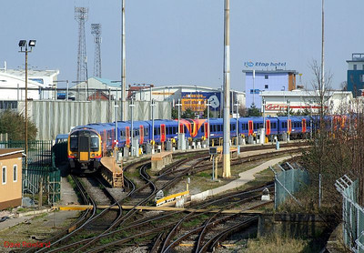 SWT 450 125 is seen stabled at Fratton Traincare Depot on 19th March 2009.