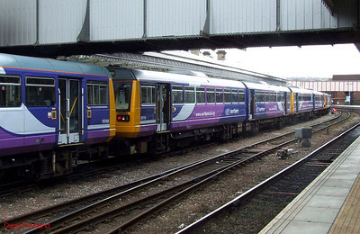 Northern 142 088, 142 014 & 144 016 are seen stabled on a centre road at Sheffield on Sunday 23rd August 2009.