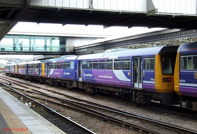 Northern DMUs stabled at Sheffield (r-l): 142 021, 142 017, 142 066. Sunday 23rd August 2009.
