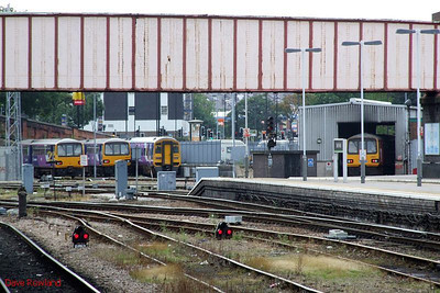 Shrewsbury Road stabling point at Sheffield: (l-r) Northern 144 010, 144 015, 158 816 & 144 019. 23rd August 2009.