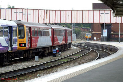 Northern 144 016 is stabled on a centre road at Sheffield; 144 010 can be seen (right) in Shreswbury Road sidings. 23rd August 2009.