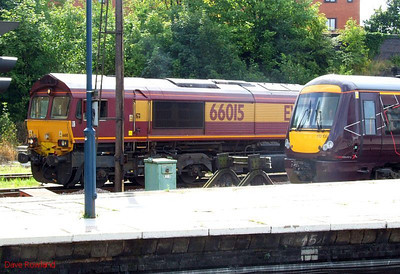 EWS 66015 and XC Turbostar 170 105 are seen at Leicester on Sunday 23rd August 2009.