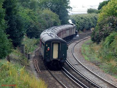 """SR N15/'King Arthur' Class 4-6-0 30777 """"Sir Lamiel"""" 1Z96 Eastleigh 18th August 2010."""