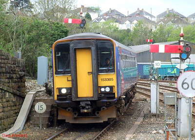 FGW 153 305 runs into Truro with the 09.20 service from Falmouth Docks on 8th May 2010.